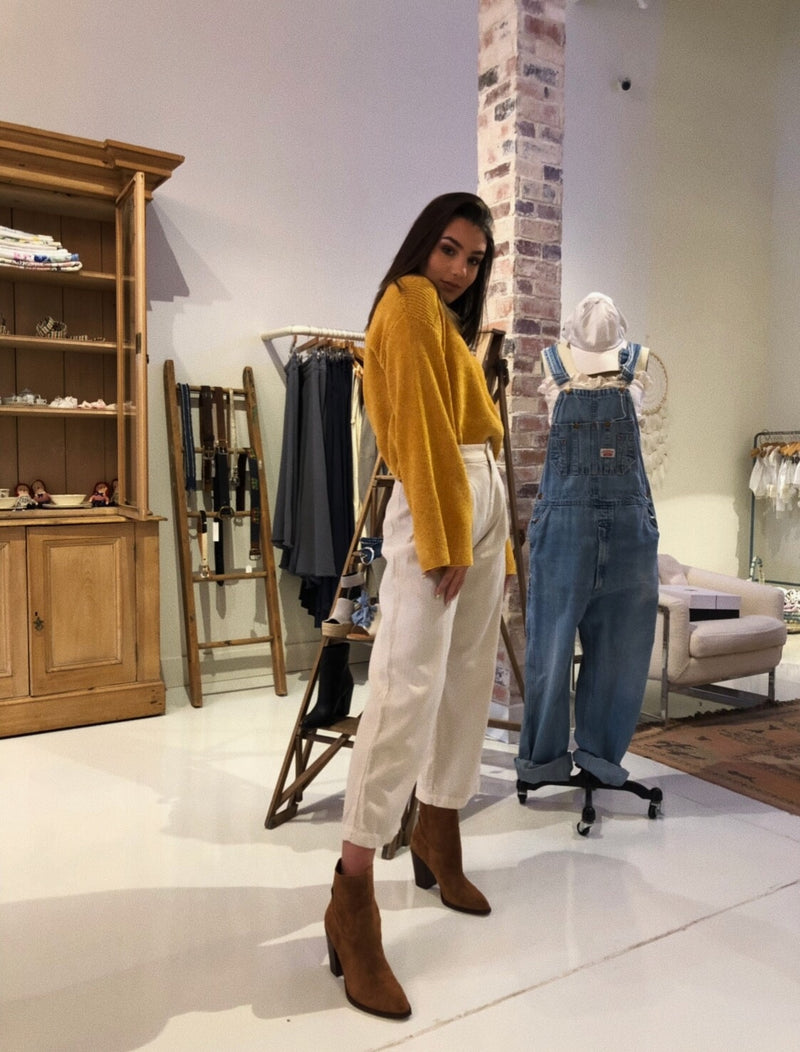 TJD Mustard Bell Sleeve Sweater