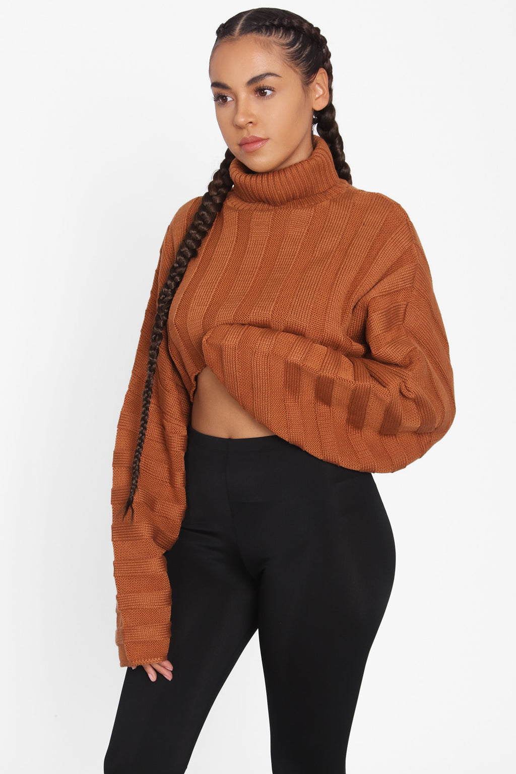 TIC TOC Cropped Sweater Copper
