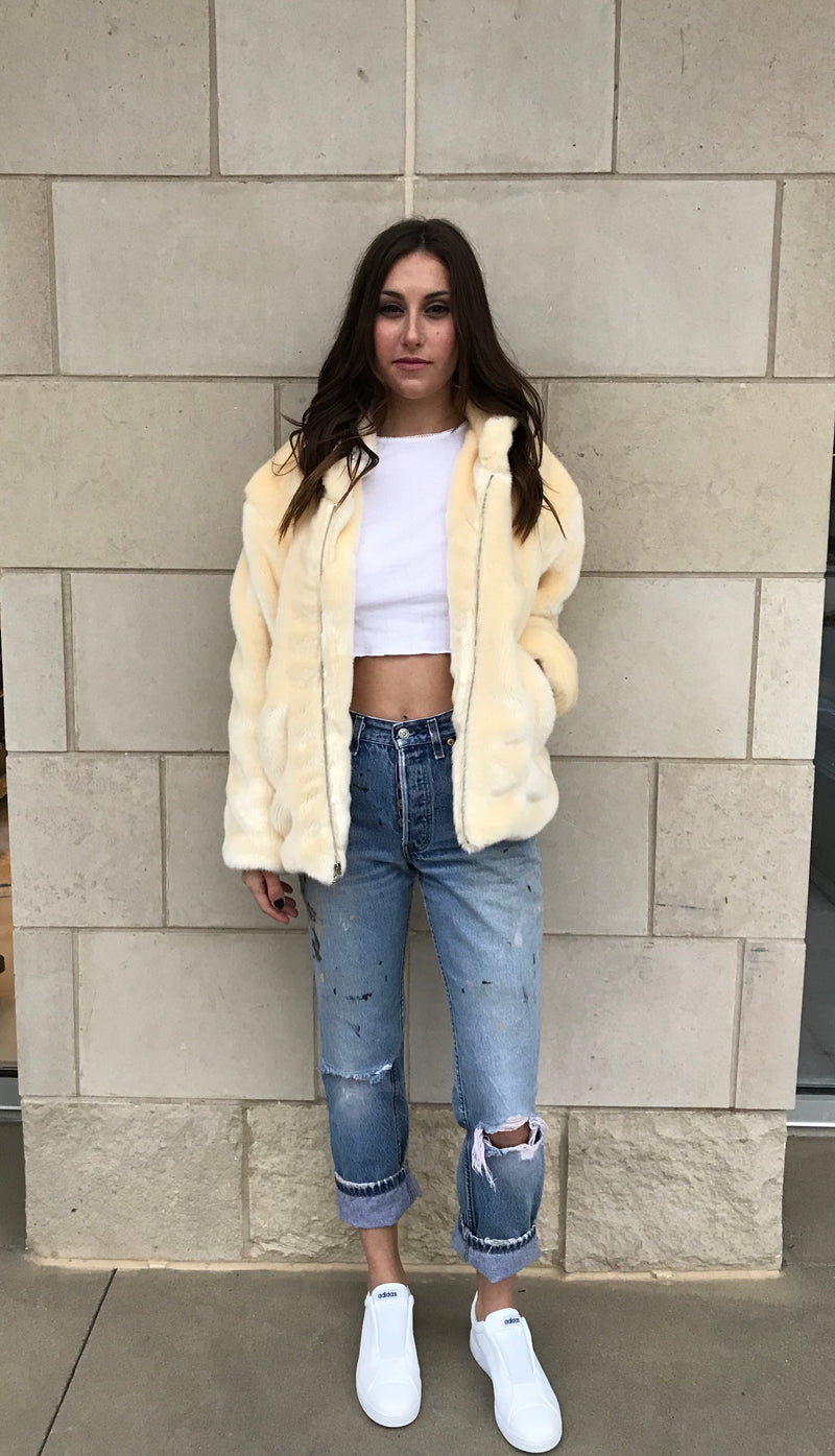 Women's Ivory Faux Fur Bomber Jacket