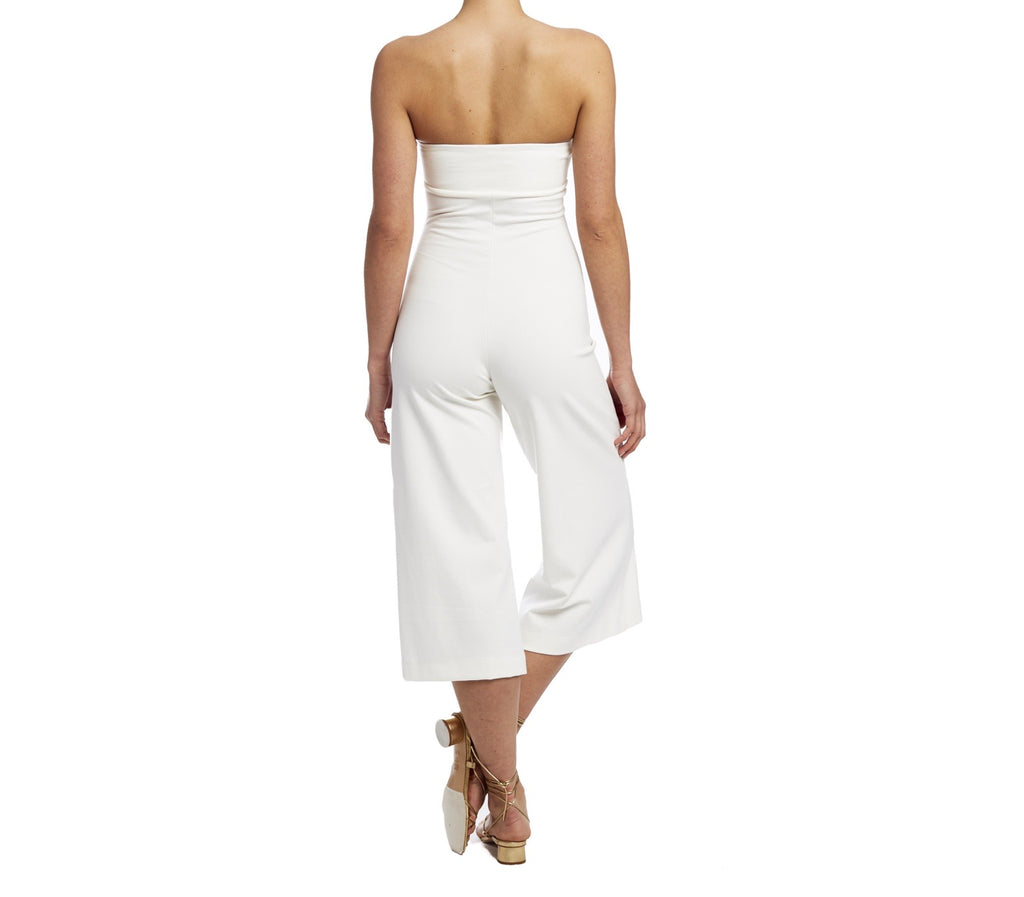 White Strapless Jumpsuit Culotte
