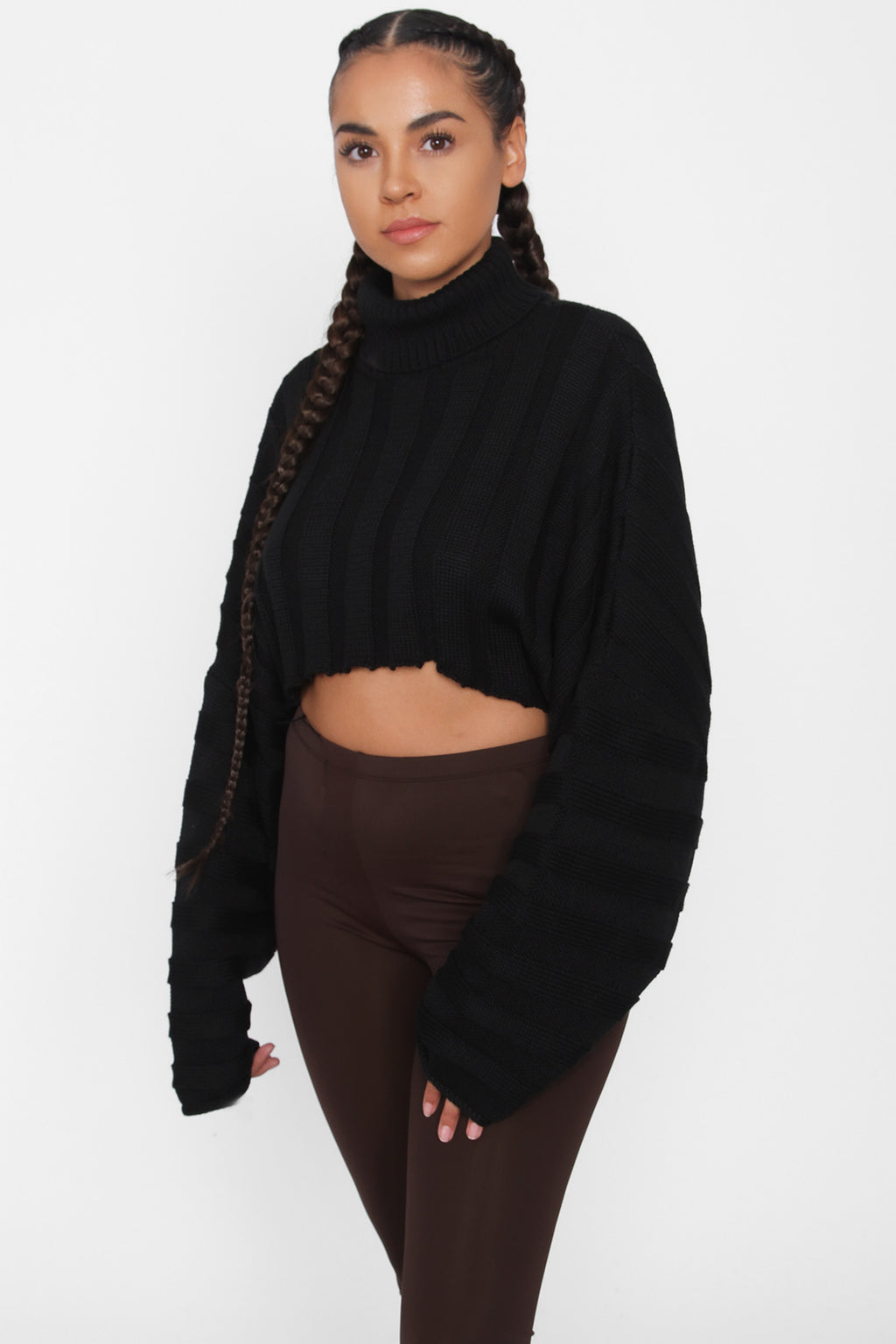 TIC TOC Cropped Sweater Black