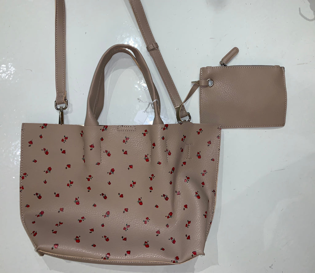 Street Level Small Tan and Rose Purse