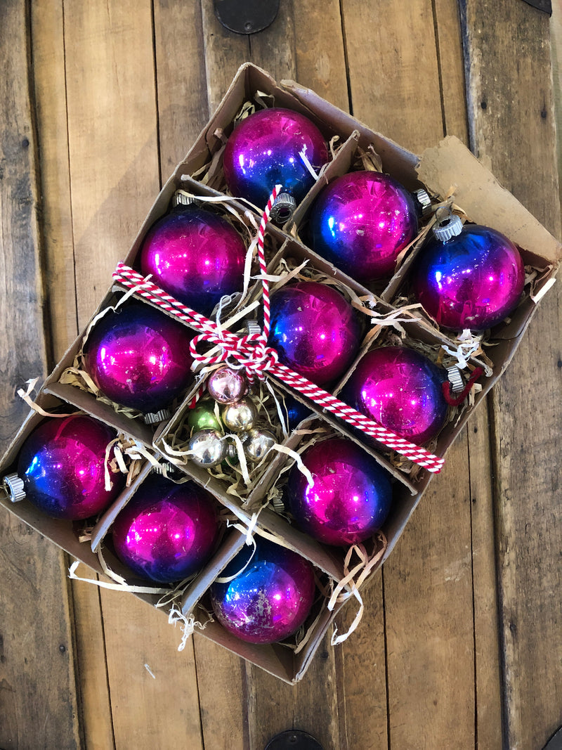Vintage Blue + Purple Ombré Ornaments - Large
