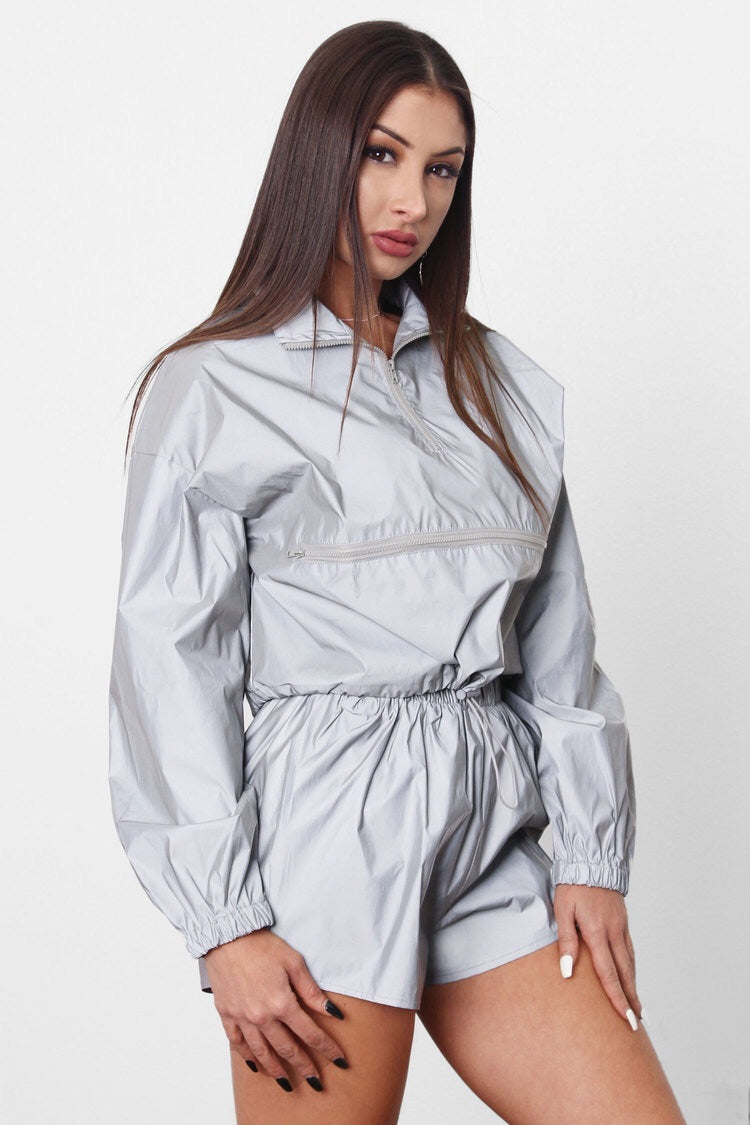 Grey reflective pullover short set