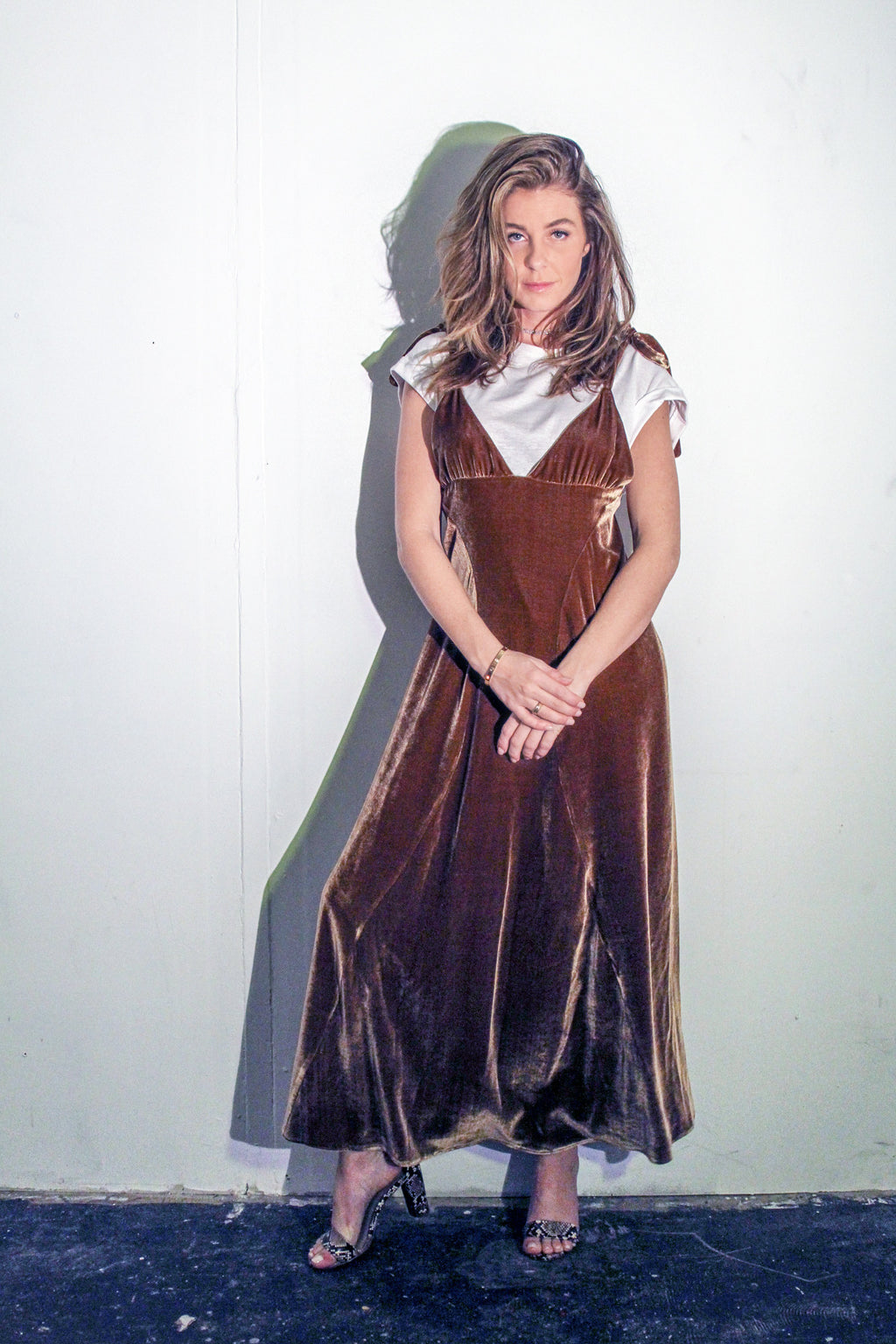 Cindy Lou Dress - Cocoa - Women's Brown Long Velvet Dress with Tie Straps