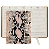 GRAPHIC IMAGE | Pink Python Embossed Leather Desk Diary - Pink Snakeskin Personal Accessory and Planner Agenda