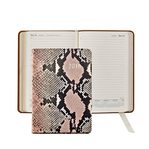 GRAPHIC IMAGE | Pink Python Embossed Leather Journal - Pink Snakeskin Personal Accessory and Planner Agenda