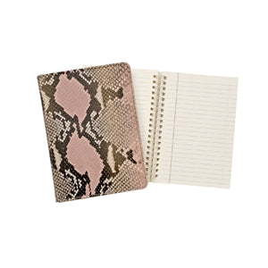 "GRAPHIC IMAGE | Pink Python Embossed 7"" Spiral Leather Journal - Pink Snakeskin Journal and Notebook Personal Accessory"