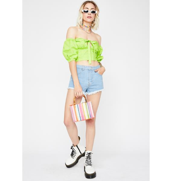 Neon Green Smock Crop Top