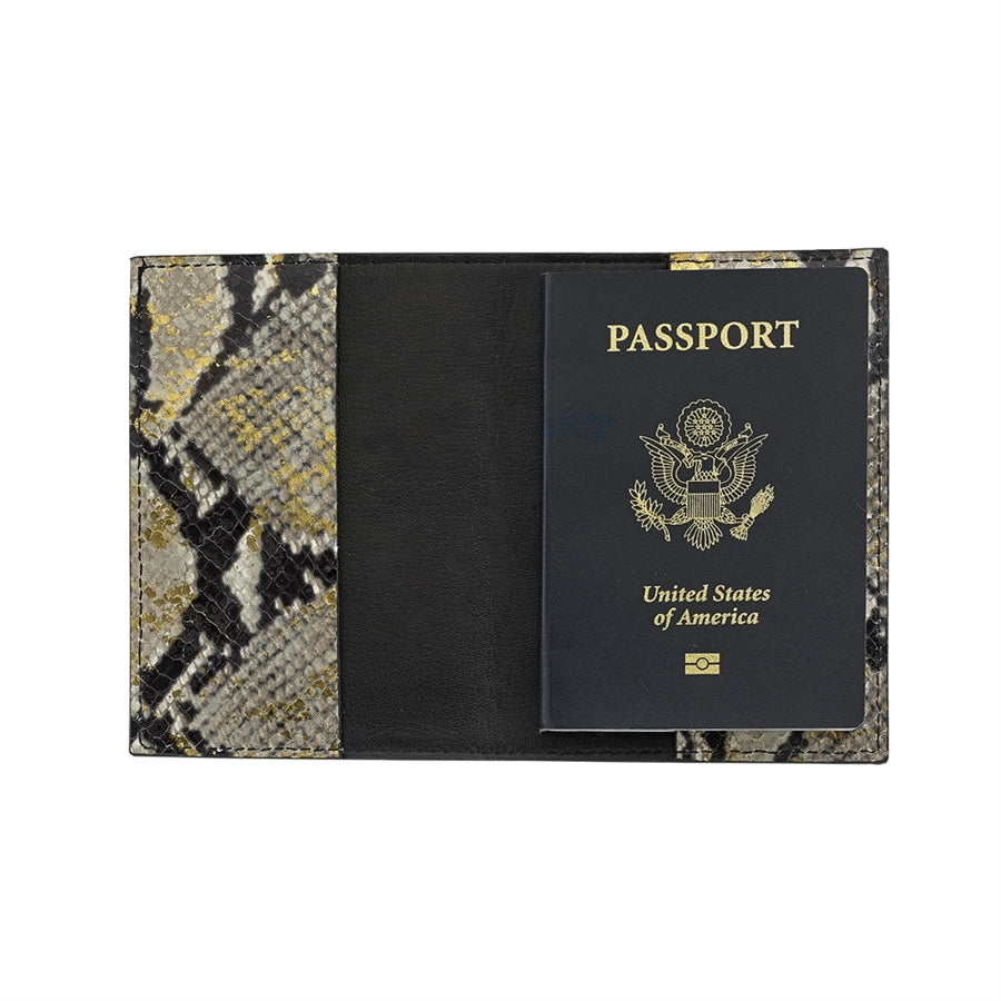 GRAPHIC IMAGE | Leather Passport Holder | Gold Embossed Python Leather - Gold Snakeskin Passport Holder Accessory