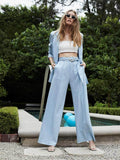 WAYF Baby Blue Belted Pant