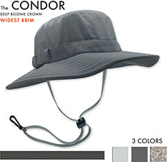 The Condor was created from feedback by our Shelta family who desired a sun hat style designed more for hot conditions and sun protection, than fitness related sports or activities