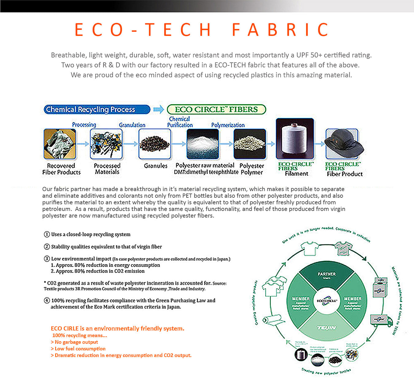 Our sun hat fabric partner has made a breakthrough in its material recycling system,which makes it possible to separate and eliminate additives and colorants not only from PET bottles but also from other polyester products,and also purifies the material to an extent whereby the quality is equivalent to that of polyester freshly produced from petroleum. As a result, products that have the same quality, functionality, and feel of those produced from virgin polyester are now manufactured using recycled polyester fibers. We use this technology in our sun hats.