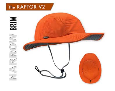 Raptor V2 Sun Hat -The Raptor No Fop Sun hat is the best Sun Hat for runners, Jogging, trail running, fly fishing, archery, outrigger paddling, tennis, Paddle Ball and stand up paddling, sup. It is a great sun hat for canoeing, beach volleyball, hiking, and golfing. It is a good sun hat for shooting, kayaking, and climbing
