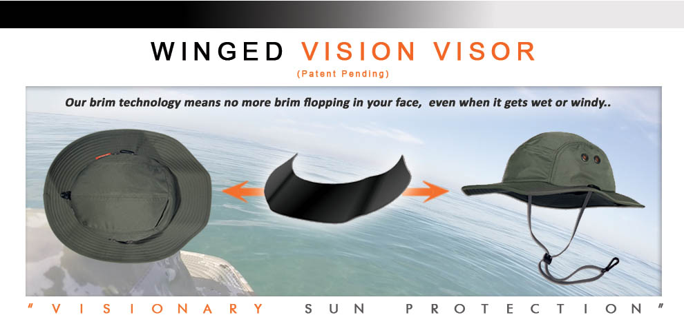 Winged Vision Visor for Shelta Sun Hat - Technology that blocks the sun, not your vision. No more brims flopping in your face while stand up paddle boarding, as this innovation provides Visionary Sun Protection even when the brimgets wet or the wind starts blowing. Sun Hats for Stand Up Paddle Boarding and Surfing Men's and Woman's Sun Hats for Hiking Sun Hats for Sightseeing and Wildlife viewing Sun Hats for Walking, Running and Jogging Men's and Women's Sun Hats for Golfing and Tennis Men's and Women's Sun Hats for Fishing Men's and Women's Sun Has for Boating and Sailing Sun Hats for Kayaking and River Rafting Men's and Women's Sun Hats for Archery and Hunting Men's and Women's Sun Hats for Water Sports
