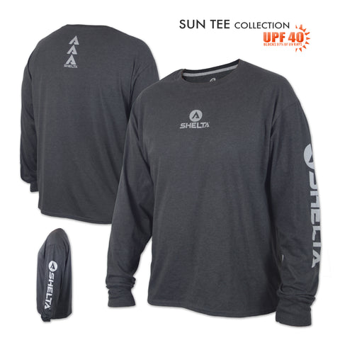 The Shelta Core Logo L/S Tee in Heather Charcoal