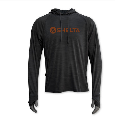 THE Shelta UNDERCOVER 2 L/S HOODED SHIRT IN HEATHER COAL / Orange Print