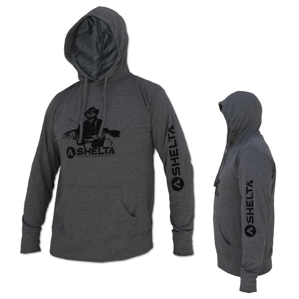 The Shelta Fishman Logo L/S Hood Grey Heather T-Shirt