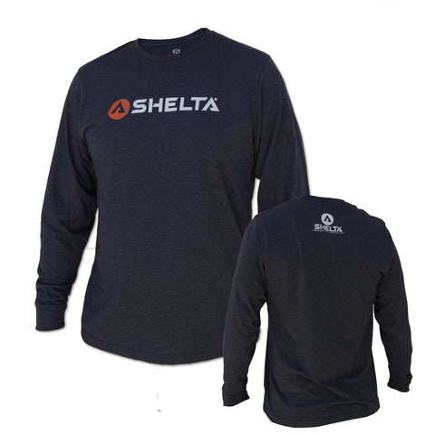 The Shelta L/S Bar Logo Tee in Navy Heather