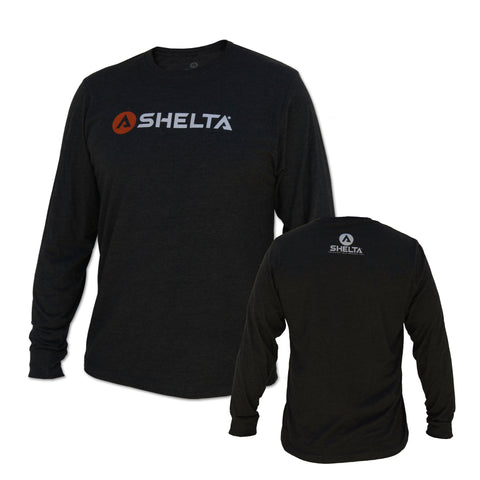 The Shelta L/S Bar Logo Tee in Charcoal Heather