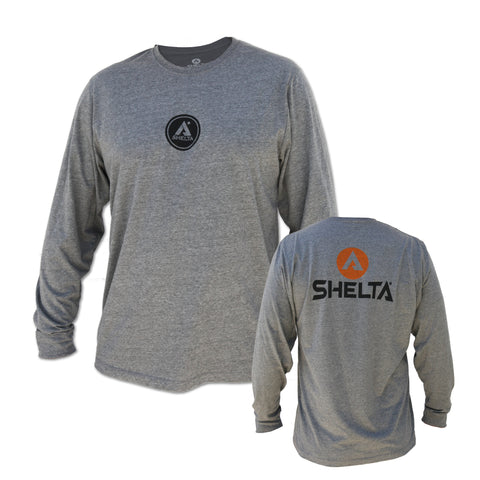 The Shelta L/S Corp Logo Tee in Grey Heather