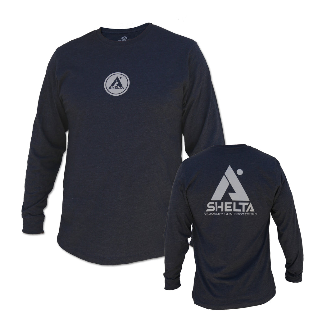 The Shelta L/S Stencil A Logo Tee in Navy Heather