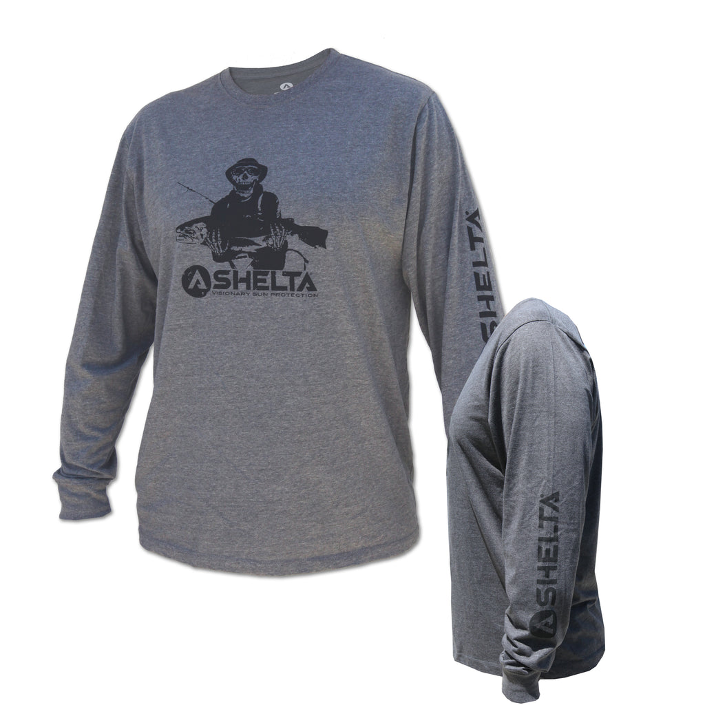 The Shelta L/S Fishman Logo Tee in Grey Heather