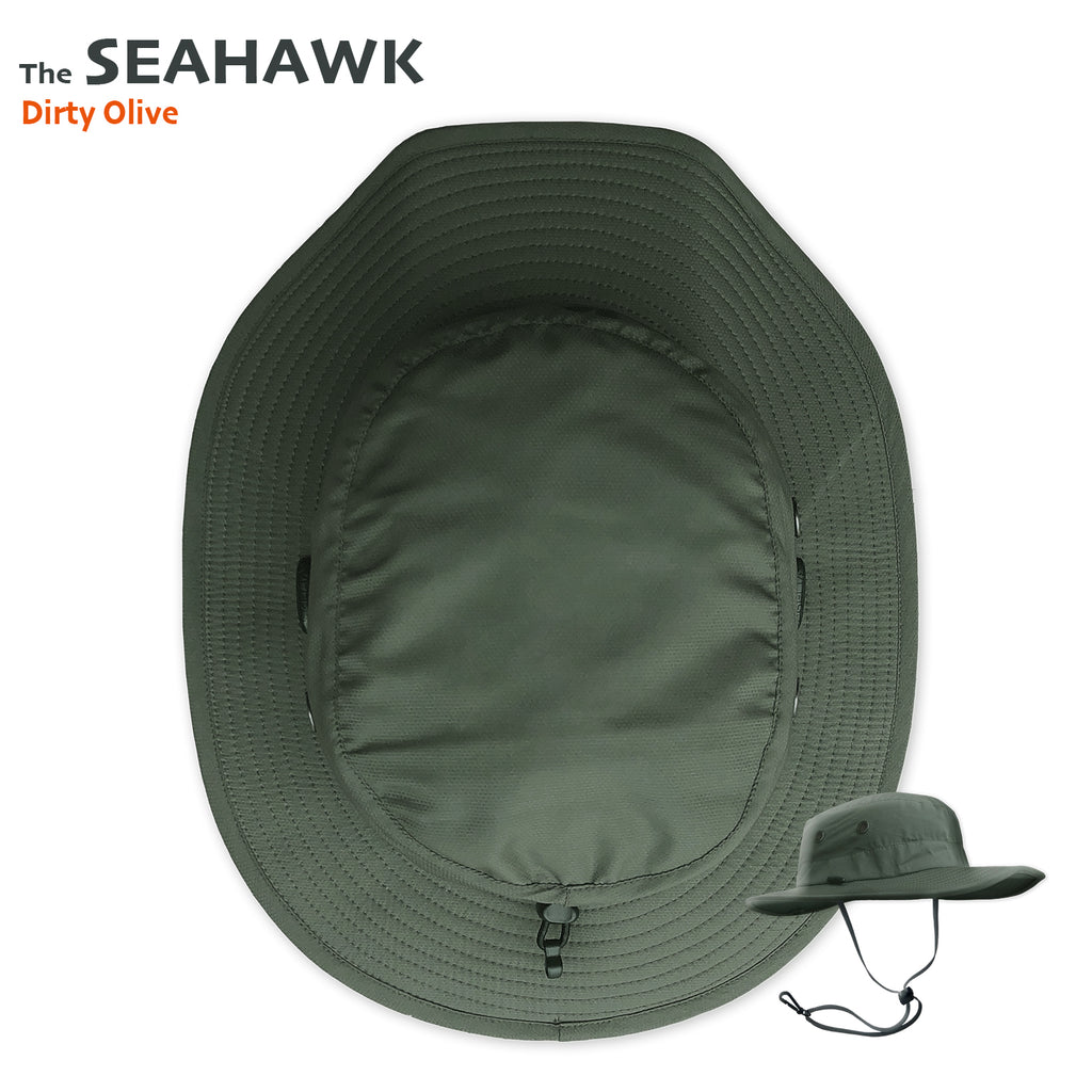 The SEAHAWK Performance Sun Hat in Dirty Olive