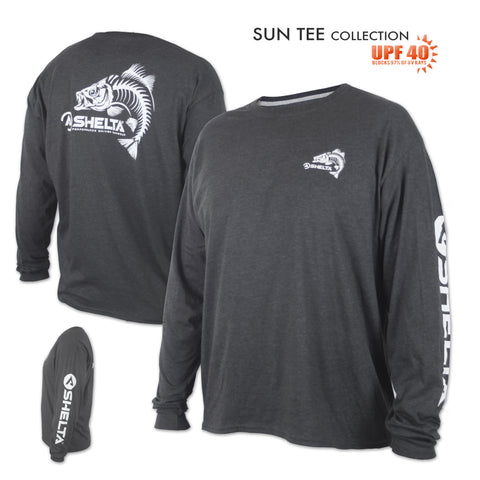 The Shelta L/S Skelebass Logo in Heather Charcoal