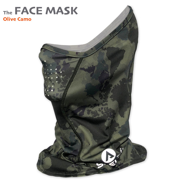 The Shelta Face Gaiter in Olive Camo