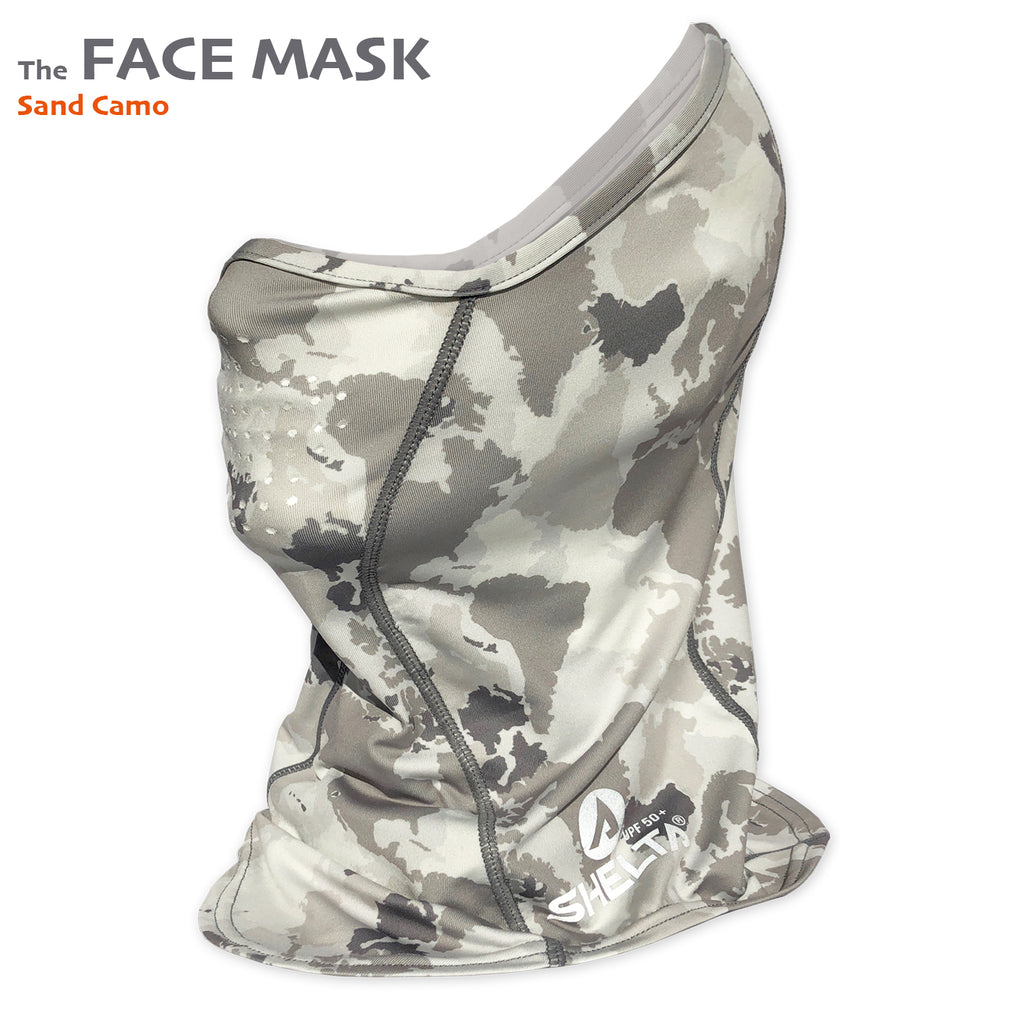 The Shelta Face Gaiter in Sand Camo