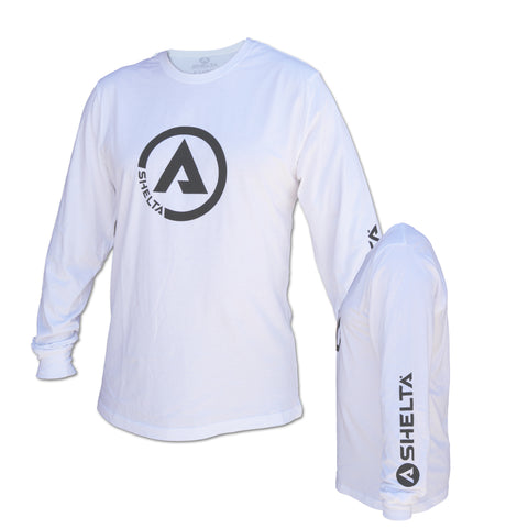 The Shelta L/S Circle A Logo Tee in White