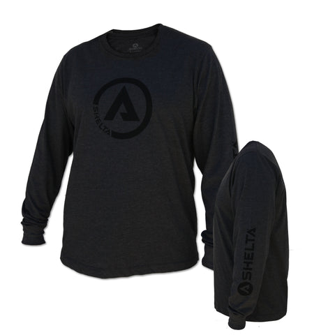 The Shelta L/S Circle A Logo Tee in Charcoal Heather