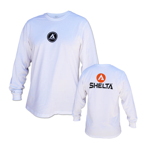 The Shelta L/S Corp Logo Tee in White