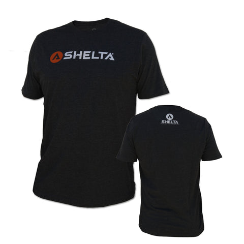 The Shelta S/S Bar Logo Tee in Charcoal Heather