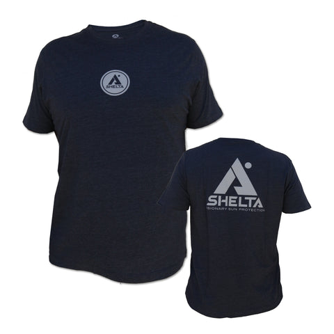 The Shelta S/S Stencil A Logo Tee in Navy Heather