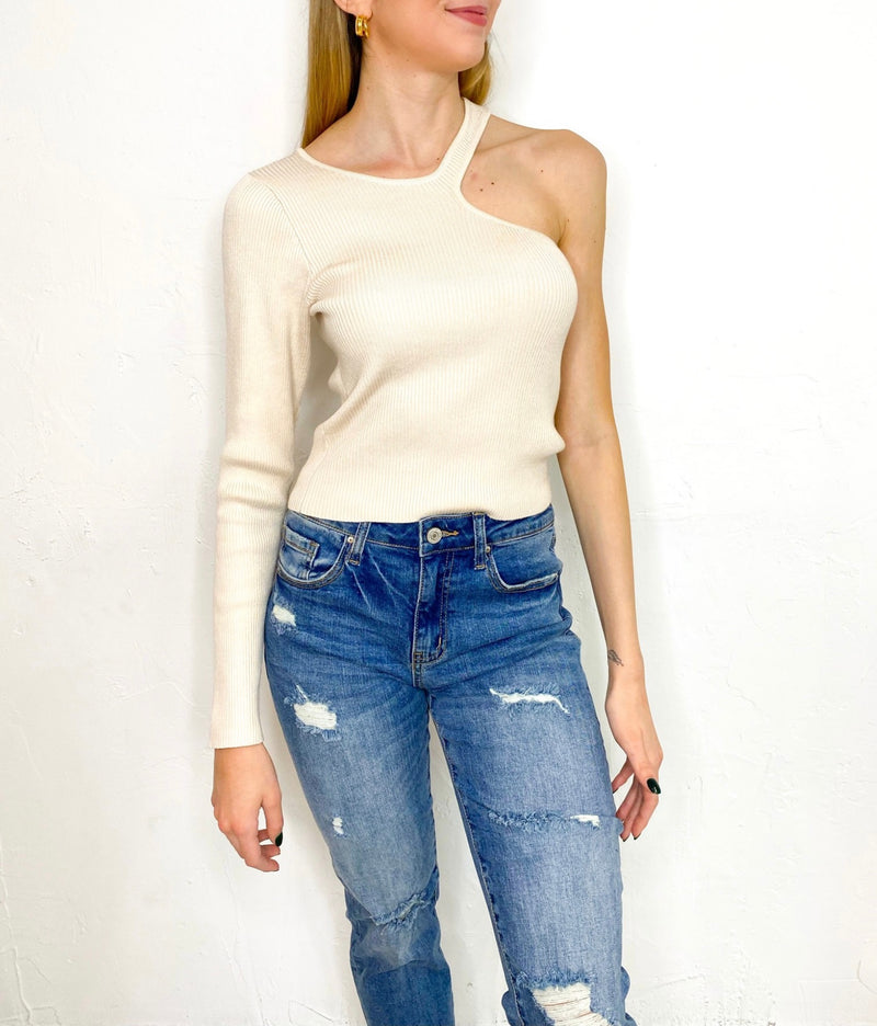 Cami One Arm Sweater in Cream