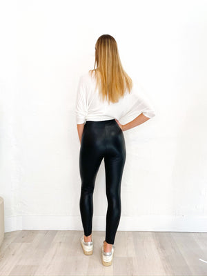 Elisabetta Leather Leggings in Black