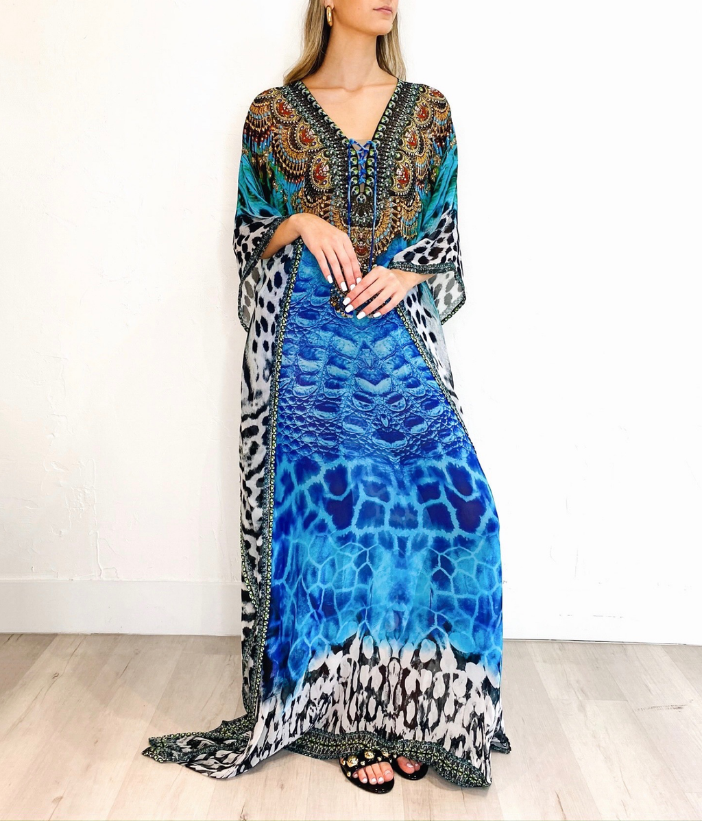 Bethany Coverup in Blue Leopard