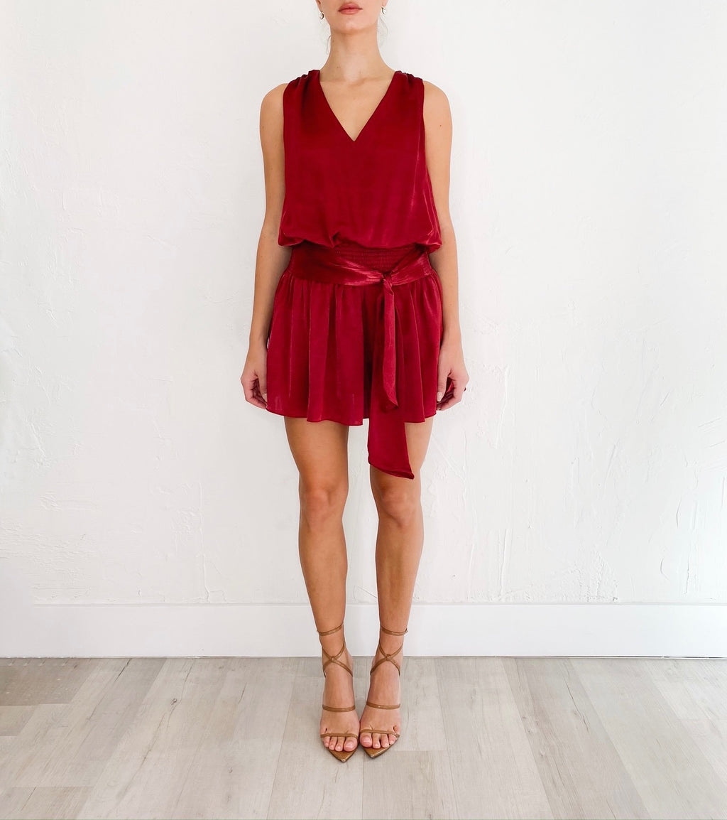 Megan Sleeveless Dress in Wine
