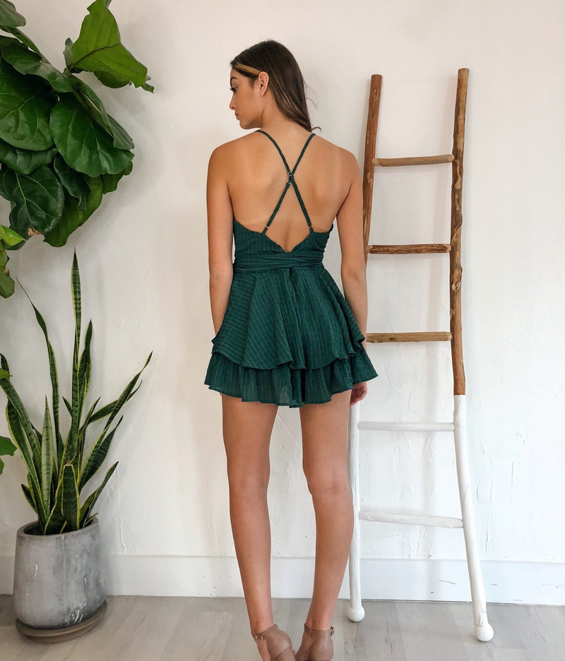 Malibu Romper in Hunter Green