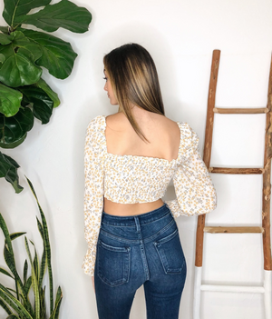 Madison Crop Top in Yellow Flower