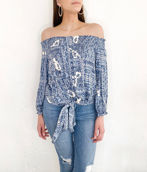 Fran Top in Blue Paisley