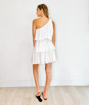 Live A Little Ruffle Dress in Off White