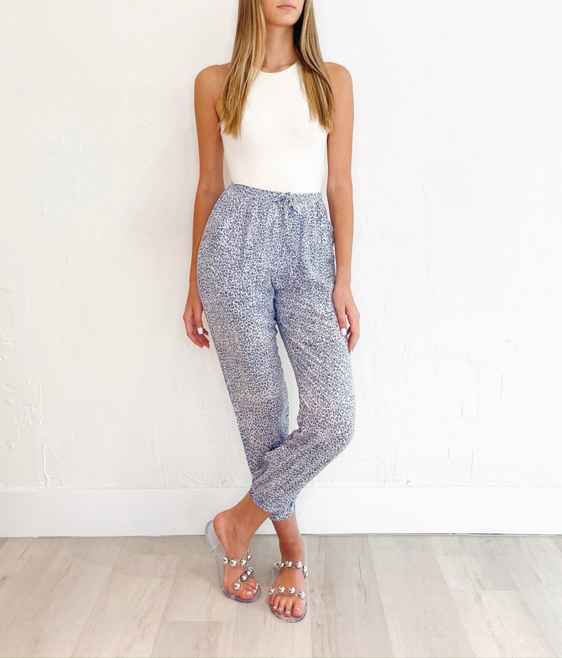Luna Pants in Blue Print
