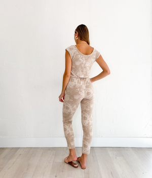 Polly Jumpsuit in Nude Tie Dye