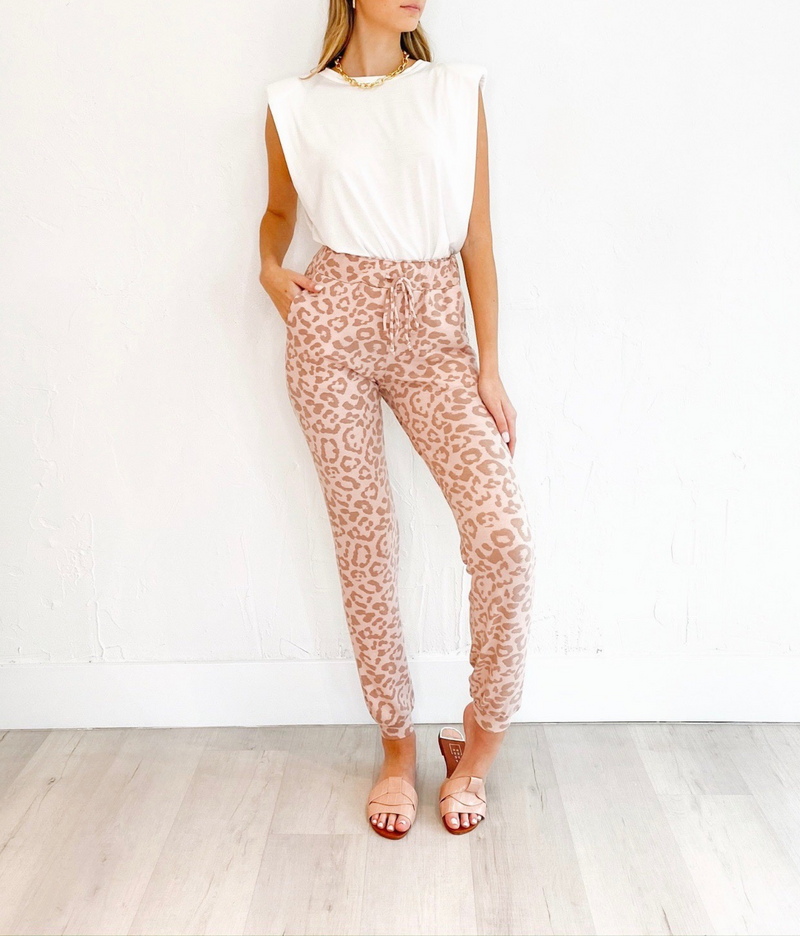 Jamie Sweat Pants in Pink Leopard