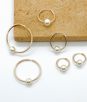 Medium Pearl Hoop