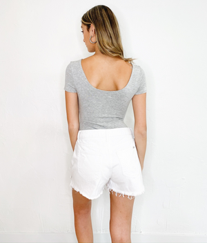 Summer Shorts In White Denim