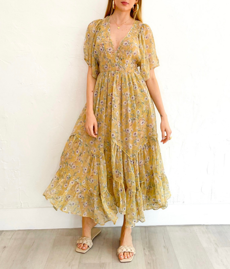Connie Dress in Yellow Flower Print